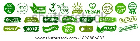 Organic natural bio labels set icon, healthy foods badges, fresh eco vegetarian food – stock vector Royalty-Free Stock Photo #1626886633