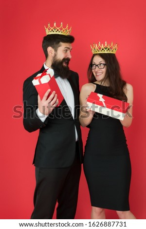 Wow. Surprised king and queen. Business couple got surprise reward. Bearded man and sexy woman hold surprise boxes. Surprise and recognise. Present and souvenir. Gift shop. Gifting surprise. #1626887731