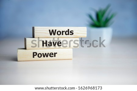 Words Have Power word cube on blue background ,English language learning concept Royalty-Free Stock Photo #1626968173