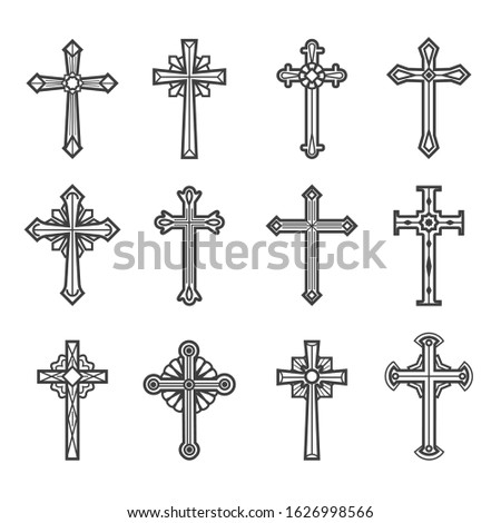 Crucifix images. Jesus christ vintage crosses vector illustration for tattoos and religious ornate decoration isolated on white background