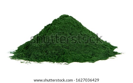 spirulina powder isolated on white background. seaweed powder isolated on white background. spirulina or seaweed powder isolated on white background #1627036429