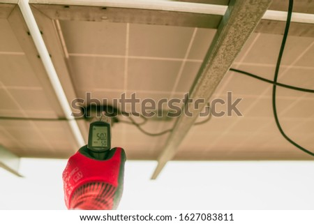 Engineering used an infrared thermometer to measure the temperature of junction box in solar panel to confirming systems working normal and check for heat to other mechanical devices. #1627083811