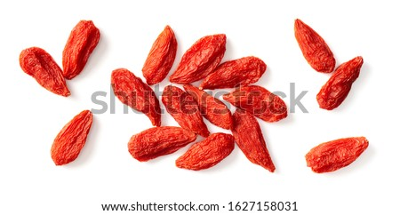 dried Chinese wolfberries isolated on white background, top view Royalty-Free Stock Photo #1627158031