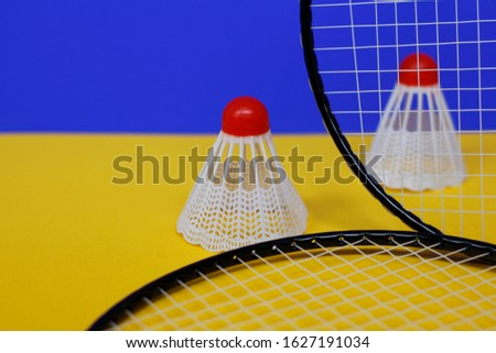 Badminton. Two shuttlecocks and two badminton racket. The colored background is blue and yellow. Idea for a magazine. #1627191034