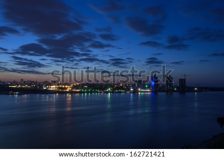 Night city landscape with a river view #162721421