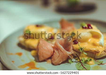 Breakfast meals with smoked salmon as a key element of the meal. #1627229401
