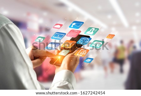 Omni channel technology of online retail business. Multichannel marketing on social media network platform offer service of internet payment channel, online retail shopping and omni digital app. Royalty-Free Stock Photo #1627242454