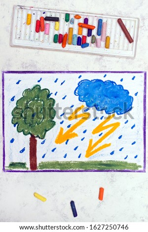 Photo of colorful drawing: Stormy weather, Lightning strike hits next to a tree
