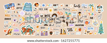 Set of weekly or daily planner and diaries vector flat illustration. Cute sticker template decorated with cartoon image and trendy lettering. Signs, symbols, objects for scheduler or organizer #1627255771