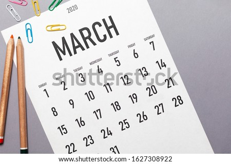 March 2020 2020 simple calendar with office supplies and copy space #1627308922
