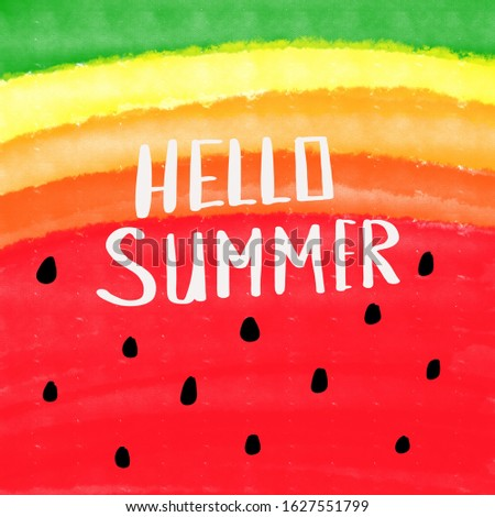 Summer card with hand drawn brush lettering. Summer watermelon background with calligraphic design elements. Summer poster, vector illustration.
