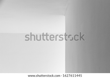 Abstract minimal architecture background, white interior fragment with corner and soft shadows, black and white photo #1627611445