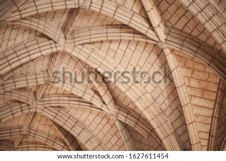 Arched Gothic vault structure, abstract classic architectural background photo #1627611454