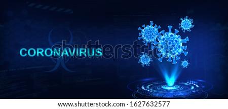 Hologram of coronavirus  COVID-2019 on a blue futuristic background. Deadly type of virus 2019-nCoV. 3D models of coronavirus bacteria. Vectonic illustration in HUD style #1627632577