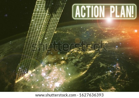 Text sign showing Action Plan. Conceptual photo proposed strategy or course of actions for certain time Elements of this image furnished by NASA. #1627636393