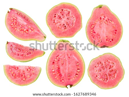 Isolated cut guava fruits. Pieces of green pink fleshed guavas isolated on white background with clipping path #1627689346