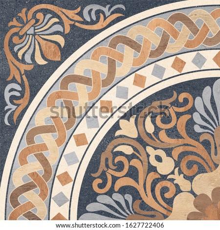 Parking Floor Tiles, Floral Vector Tiles