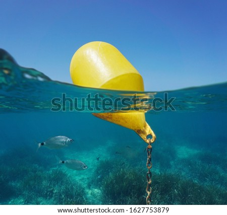 A yellow beacon buoy in the sea for beach marking and cross channel limits with blue sky and fish underwater, split view half over and under water surface, Mediterranean, Spain Royalty-Free Stock Photo #1627753879