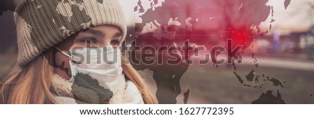 MERS-CoV Chinese infection Corona Virus masked girl on the background of the city in smog, the concept of the epidemic of the virus in China #1627772395