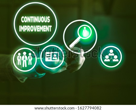 Handwriting text writing Continuous Improvement. Concept meaning ongoing effort to improve products or processes. #1627794082
