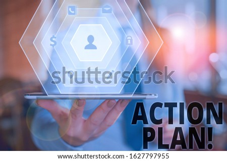 Text sign showing Action Plan. Conceptual photo proposed strategy or course of actions for certain time. #1627797955