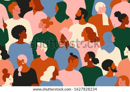 Crowd of young and elderly men and women in trendy hipster clothes. Diverse group of stylish people standing together. Society or population, social diversity. Flat cartoon vector illustration. Royalty-Free Stock Photo #1627828234