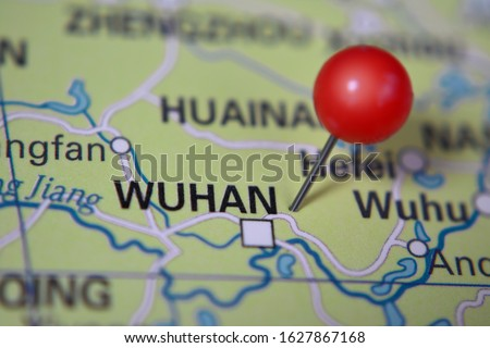 Wuhan marked on map with red pin, China Royalty-Free Stock Photo #1627867168