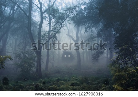 A creepy, fantasy forest of trees, back lighted with spooky, glowing eyes of creatures in the undergrowth. #1627908016