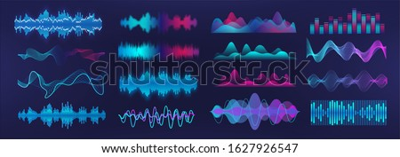 Sound waves equalizer. Frequency audio waveform, music wave, voice graph signal in futuristic style HUD. Microphone voice control set and sound recognition. Audio waves vector set #1627926547