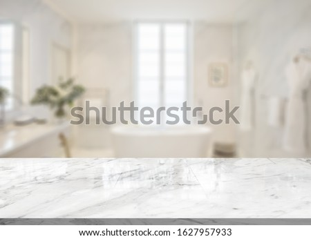 Empty marble top table with blurred bathroom interior Background. for product display montage