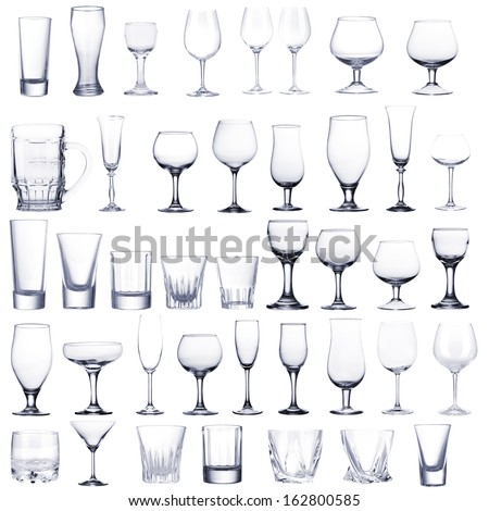 Collage of empty glasses isolated on white #162800585