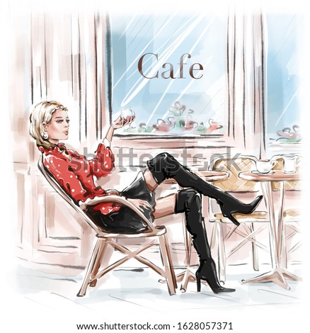 Hand drawn beautiful young woman sitting in Paris street cafe. Blonde hair girl in black shoes. Sketch. Fashion illustration.