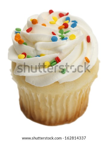 Single Cupcake with White Frosting and Sprinkles Isolated On White Background.