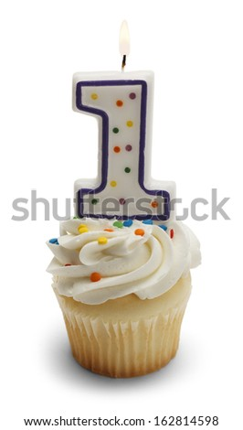 Cupcake with a Number One Candle Isolated on White Background.