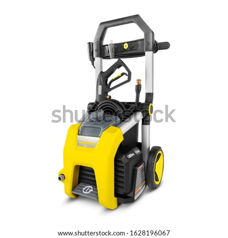 Pressure Washer Isolated on White. Yellow Black Electric High Power Washing Machine. Outdoor Power Equipment. House Cleaning Tool. Domestic Major Appliances. Home Appliance. Pressurized Water Jet #1628196067