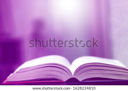 Book stack in the library and blurred bookshelf background for education. Education background. Back to school  concept. Open book design for decorate wallpaper and learning classroom. #1628224810