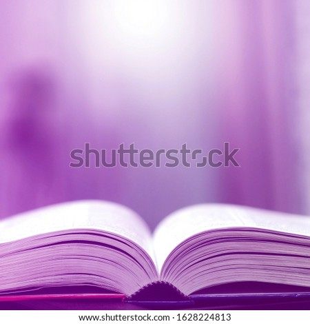 Book stack in the library and blurred bookshelf background for education. Education background. Back to school  concept. Open book design for decorate wallpaper and learning classroom. #1628224813