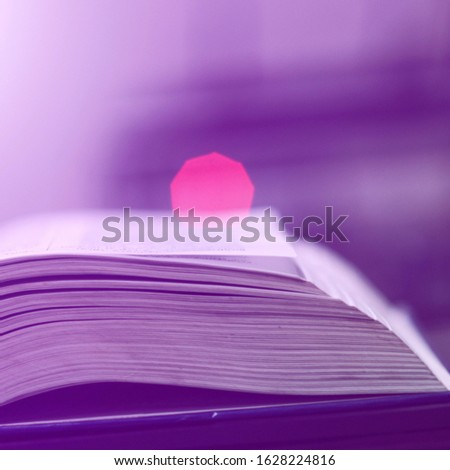 Book stack in the library and blurred bookshelf background for education. Education background. Back to school  concept. Open book design for decorate wallpaper and learning classroom. #1628224816