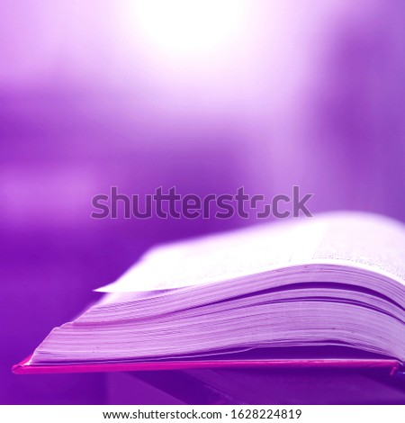 Book stack in the library and blurred bookshelf background for education. Education background. Back to school  concept. Open book design for decorate wallpaper and learning classroom. #1628224819