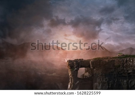 cliff background fantasy, photo editing background