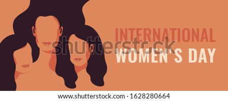 Horizontal International Women's Day card with Silhouettes of three women standing together. Women's friendship. Vector concept of the female's empowerment movement. Royalty-Free Stock Photo #1628280664
