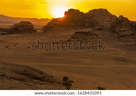 Vintage photos from archive. Jordan. Sunset in Wadi Rum desert. Martian landscapes in lifeless desert. Red rocks and red sand.  #1628431093