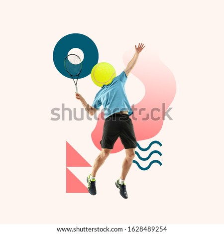 Creative sport and geometric style. Tennis player in action, motion on light background. Negative space to insert your text or ad. Modern design. Contemporary colorful and bright art collage. Royalty-Free Stock Photo #1628489254