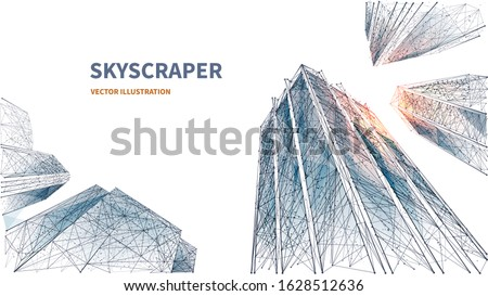 Abstract digital low angle view of skyscrapers. Polygons lines, particles, and connected dots. Isolated business buildings on white background. 3D Technology concept of success and business. Polygon Royalty-Free Stock Photo #1628512636