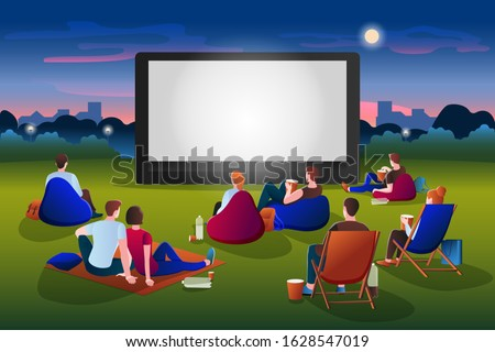 Open-air cinema vector flat cartoon illustration. People watching movie in night city park on large screen. Outdoor leisure, relax and fun. Film festival, events and entertainment presentation concept Royalty-Free Stock Photo #1628547019