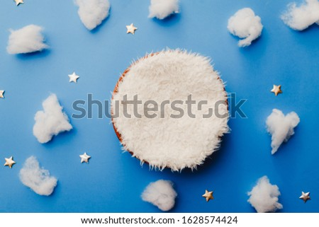 newborn digital background with clouds and stars on blue background
