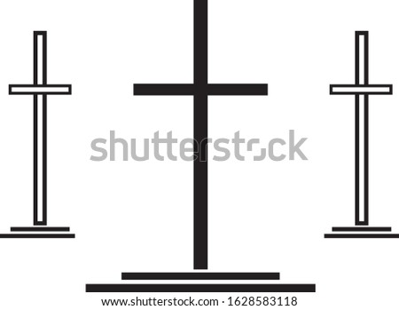 Easter Cross Christian Resurrection of Jesus Christ the Messiah scene in black and white for salvation, grace themes or concepts.