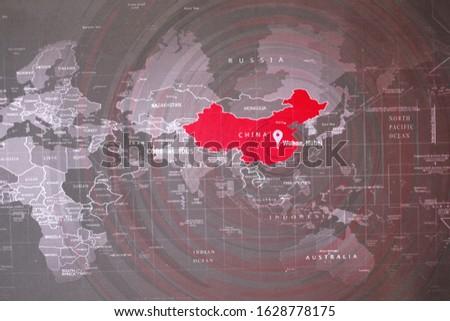 coronavirus pandemic and outbreak.  Wuhan China map that the place start Coronavirus. 2019-nCOV spread. Dangerous Coronavirus as a pandemic medical. Root cause of COVID-19. the spread of Coronavirus Royalty-Free Stock Photo #1628778175