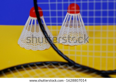 Badminton. Two shuttlecocks and two badminton racket. The colored background is blue and yellow. Idea for a magazine. #1628807014