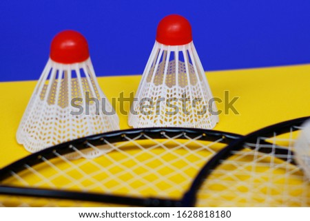 Badminton. Two shuttlecocks and two badminton racket. The colored background is blue and yellow. Idea for a magazine. #1628818180